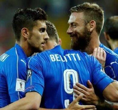 Cinquina azzurra al Liechtenstein, eurogol di Lorenzo Insigne ma l'Italia è seconda a causa della peggiore differenza reti nei confronti della Spagna.